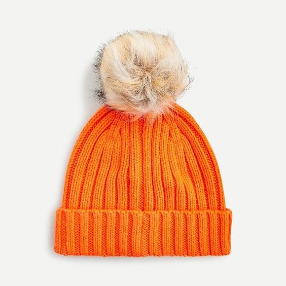 NWT J.Crew Wool Blend Orange Pom-Pom Beanie